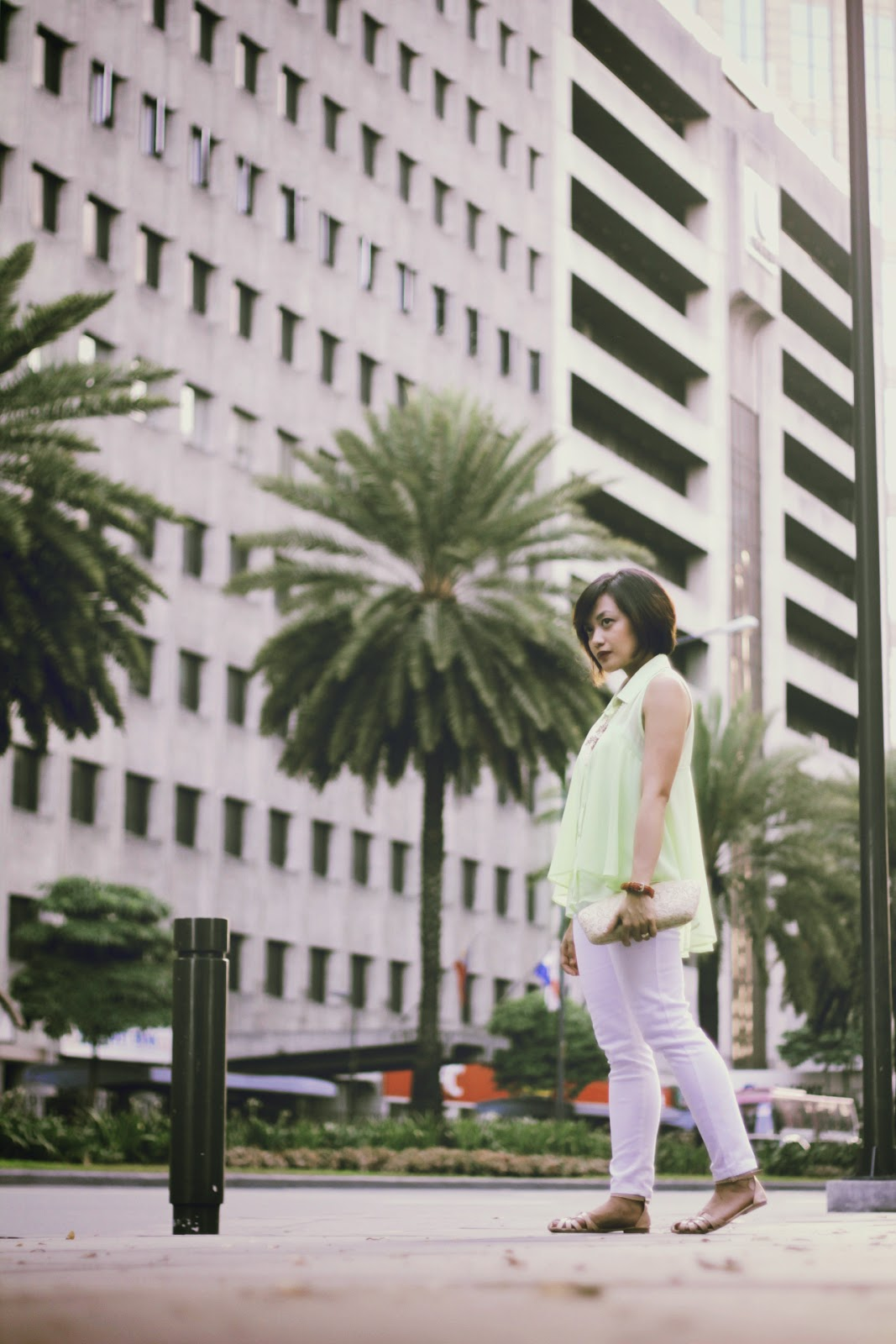 forever 21 blouse, white pants, makati, fit flats