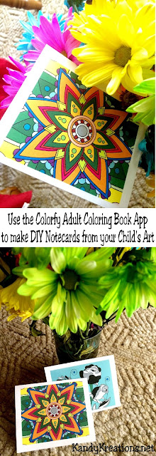 Turn your child's artwork into a beautiful note card they will love to send to Grandma.  This DIY shows you how to make unique note cards using the Colorfy App, your computer, and home printer...Super Easy, and Super Fun!