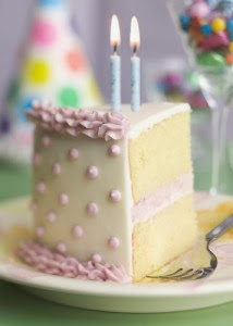 slice of birthday cake with two candles