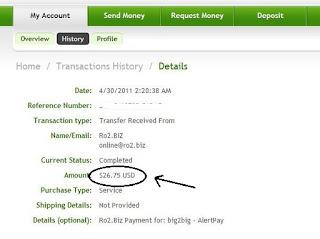 bukti pembayaran fro2g ke alertpay