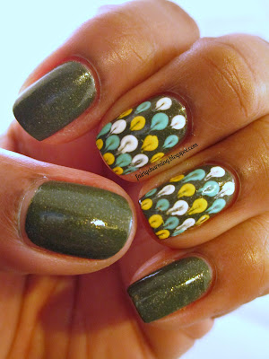 Zoya Yara, Julep Denver, OPI It Color, olive green, army green, polka dot, needle drag, nails, nail art, nail desing, mani