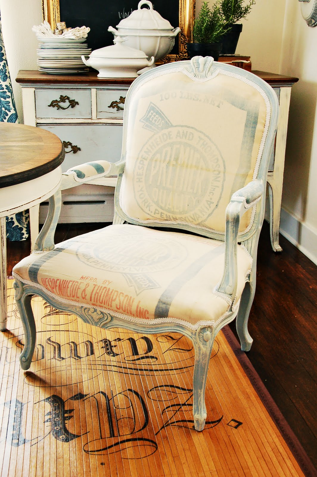 Marian Rescued This Chair, Then Painted, Distressed, And Reupholstered It  In A Vintage Feed Sack. Awesome!