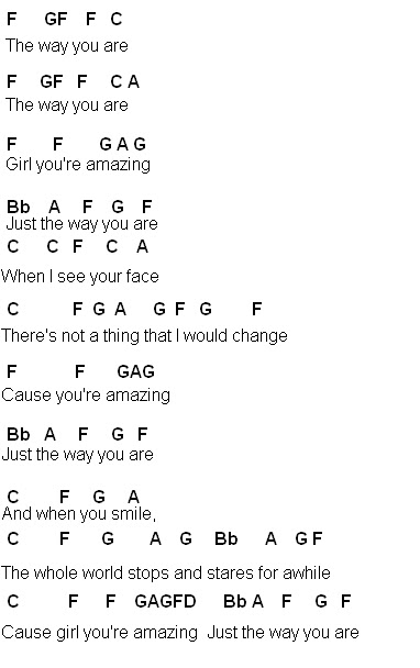 Online Chords: Just the way you are - Bruno mars