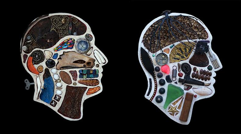 Retratos de diagrama médicos creados a partir de objetos encontrados por Edwige Massart y Xavier Wynn