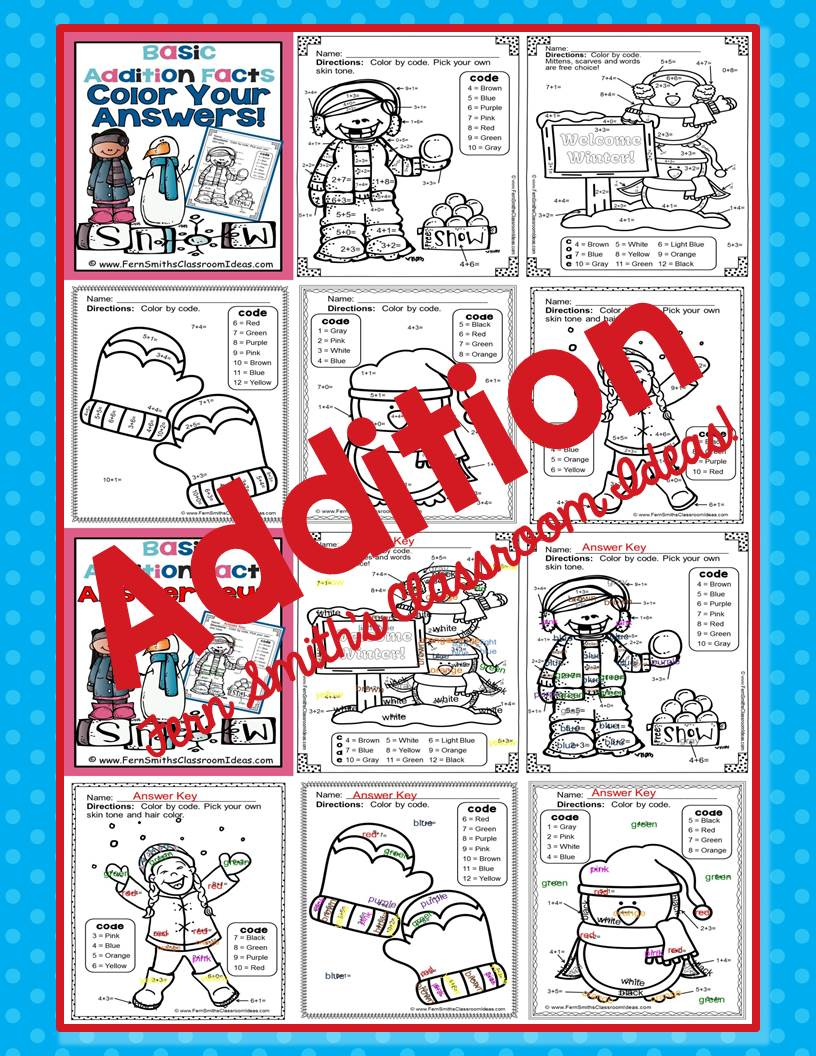 Fern Smith's Classroom Ideas Matching Winter Fun! Basic Addition Facts - Color Your Answers Printables
