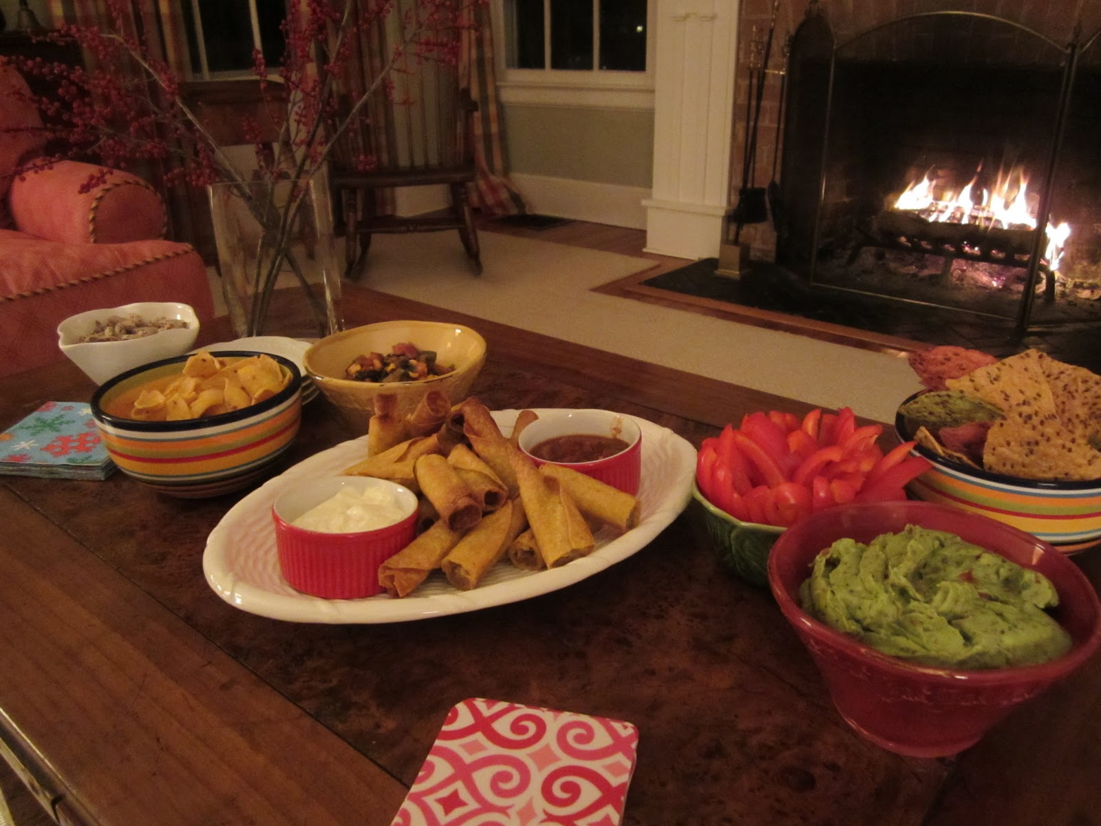 Dinner table with mexican food - The Only Things That Need To Happen Right Before The Guests Arrive Light A Fire Turn On Some Music And Put The Casual Appetizers Out