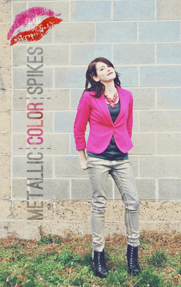 Akron fashion - gold denim - pink blazer
