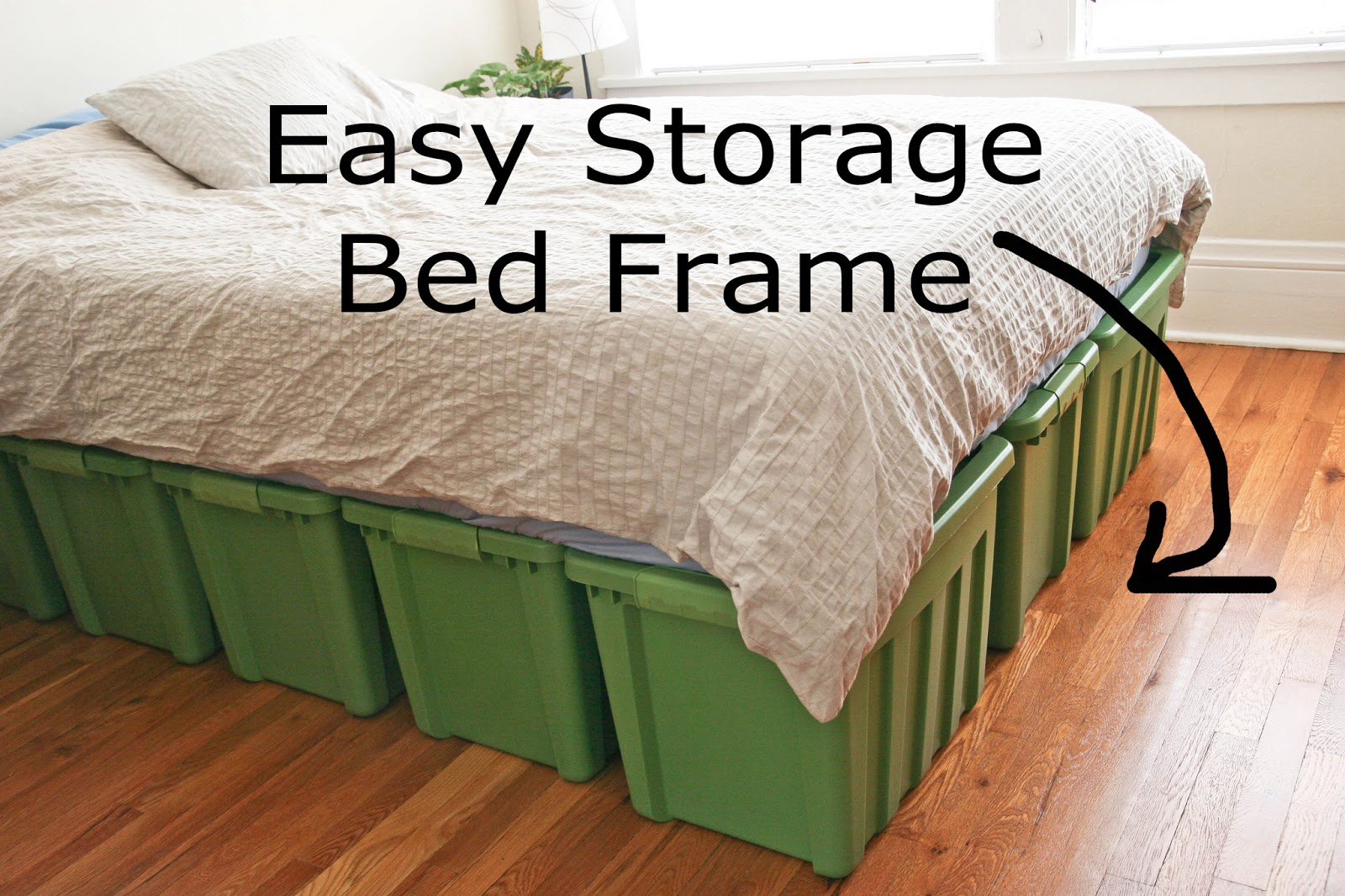 Diy Bed Frame Pallet A rubbermaid bed frame!