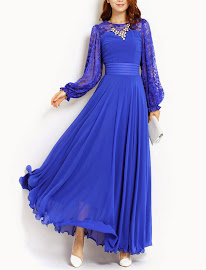 Lace Long Sleeve Chiffon Maxi
