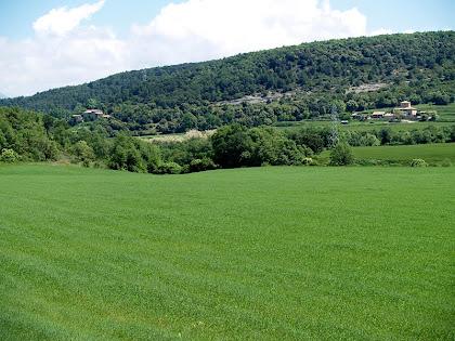 A l'esquerra el Mas d'en Coll i a la dreta l'Arumí vistos des de sota les Roques de l'Albareda