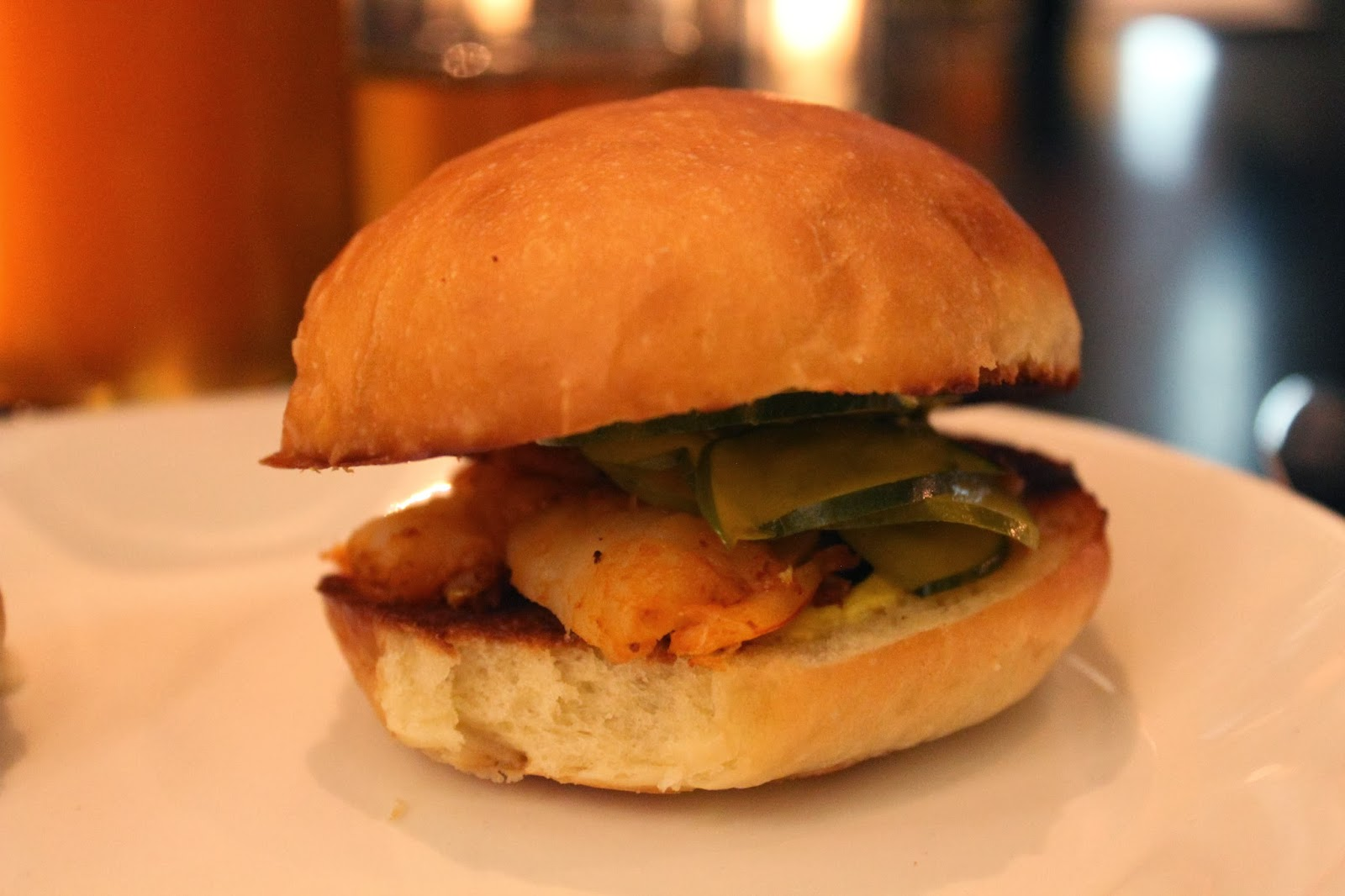 Shrimp slider with chipotle and bread and butter pickles at Row 34