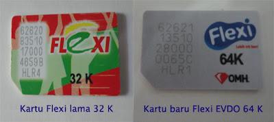 Kartu chip baru Flexi Mobile Broadband ada tulisan 64 K