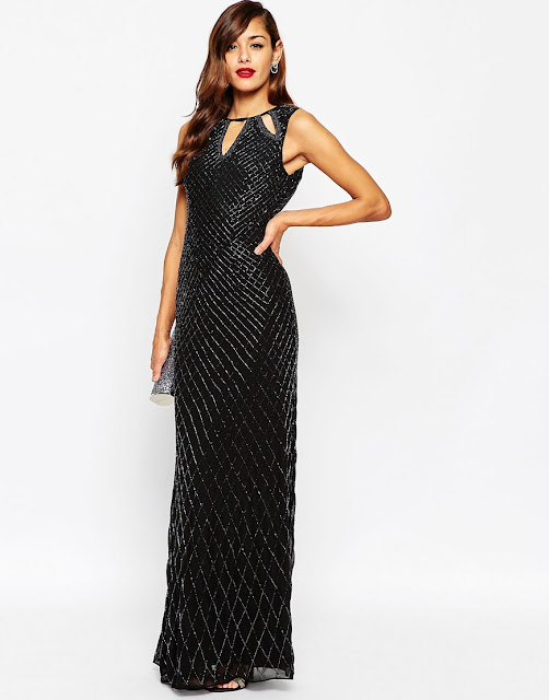asos red carpet black maxi dress, black beaded maxi dress,