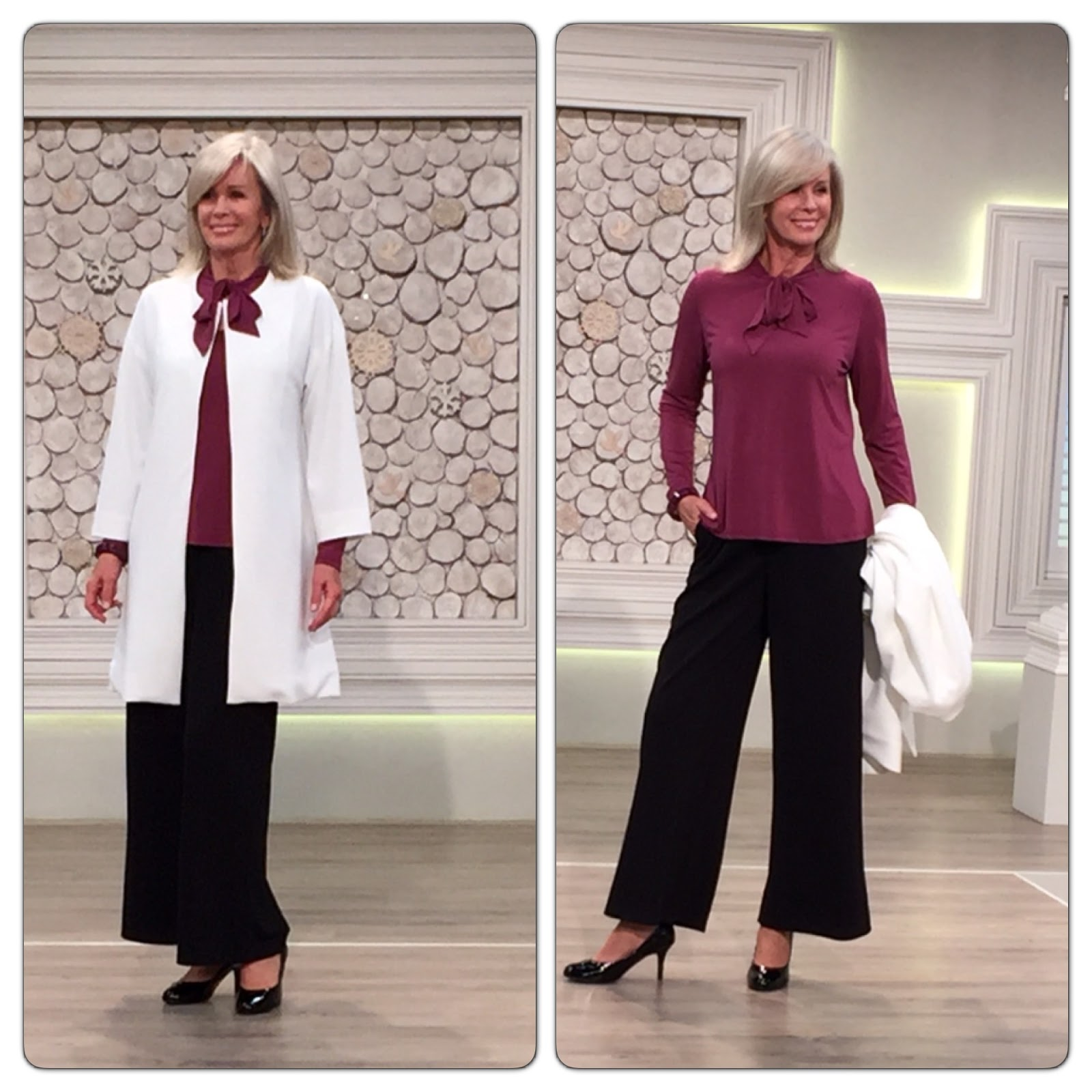 Nv nick verreosemiere on qvc uk lots of photos nick verreos model in nv nick verreos white car coat marsala colored tie neck blouse textured knit wide leg trousers and fashion illustration by nick verreos nv ccuart Gallery
