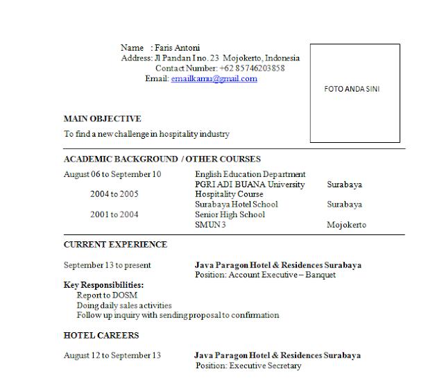 Contoh Surat Lamaran Kerja Di Hotel Terbaru Sharing Ilmu