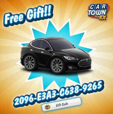 Car Town EX Free Gift Tesla modelo S 2013