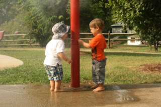 sprinkler at playground
