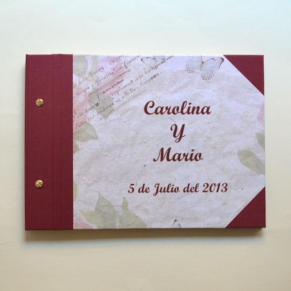 Libro firmas guest book granate boda
