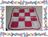 benang softy cotton.warna pink tua dan putihdengan pola : Square