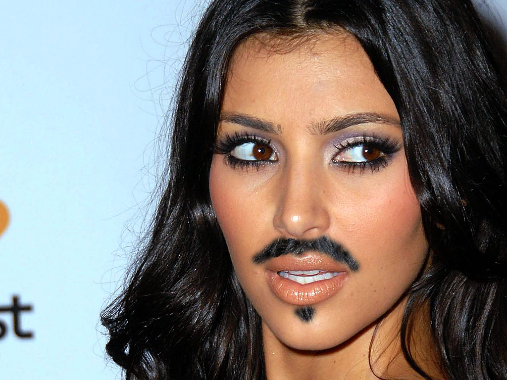 Kim Kardashian with a mustache