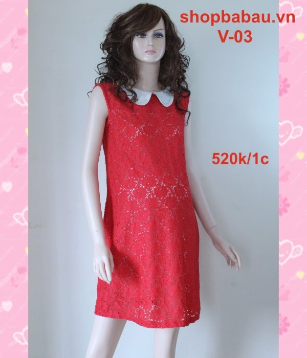 váy bầu - đầm bầu đỏ v-03