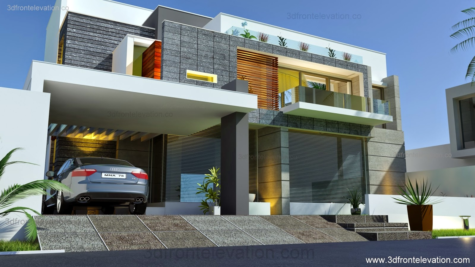 3d front beautiful modern contemporary for Modern architecture plans