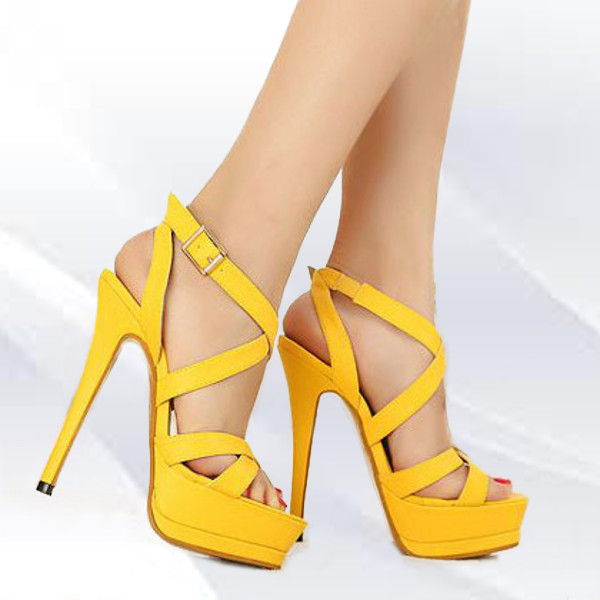 Hamsa Strappy Heels Yellow. was £ NOW £ Days. Hours. Minutes. Seconds In Stock. Please Select a Size High Heels by OFFICE. Dare to be different with these 90's inspired heels. Featuring wrap around tubular strap detailing in a yellow upper and stiletto heel.
