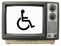 Old fashioned TV set with wheelchair symbol on the screen
