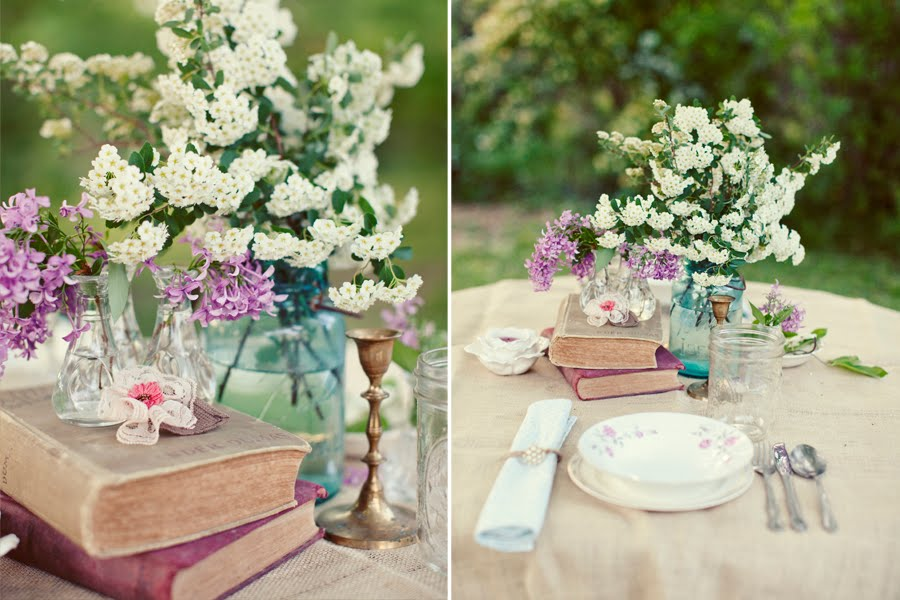 Wedding Table Setting Ideas Vintage Books Blue Mason Jar Centerpieces