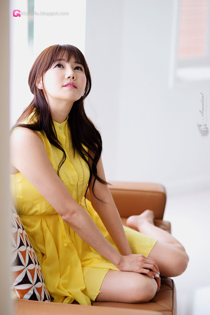 5 Han Ga Eun in Yellow- very cute asian girl - girlcute4u.blogspot.com