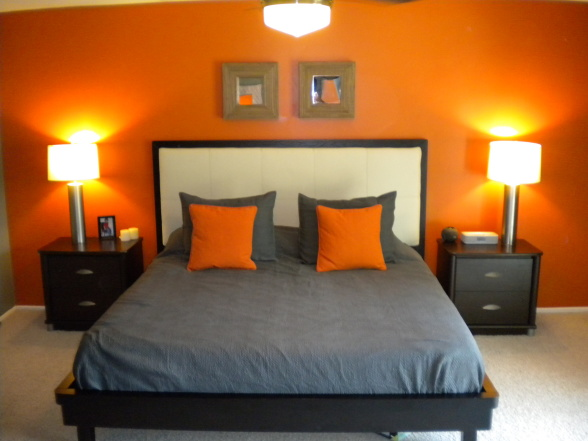 My orange and grey bed room on pinterest orange bedrooms for Bedroom inspiration orange