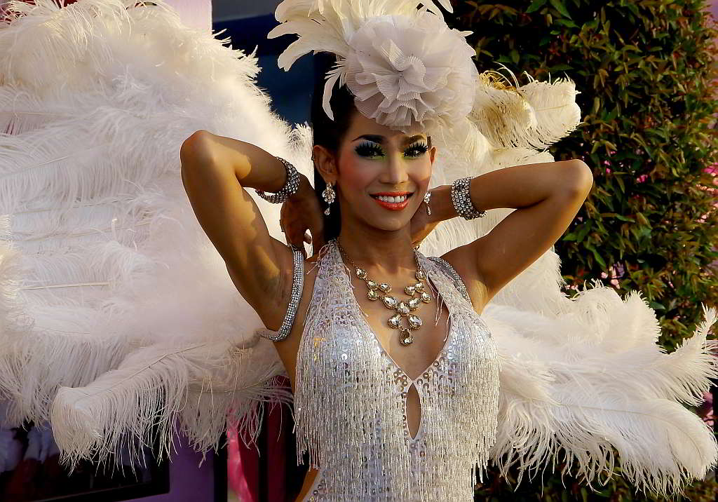 Ladyboy, also known as Kathoey, dressed ready to perform at a cabaret show at Mimosa Pattaya.