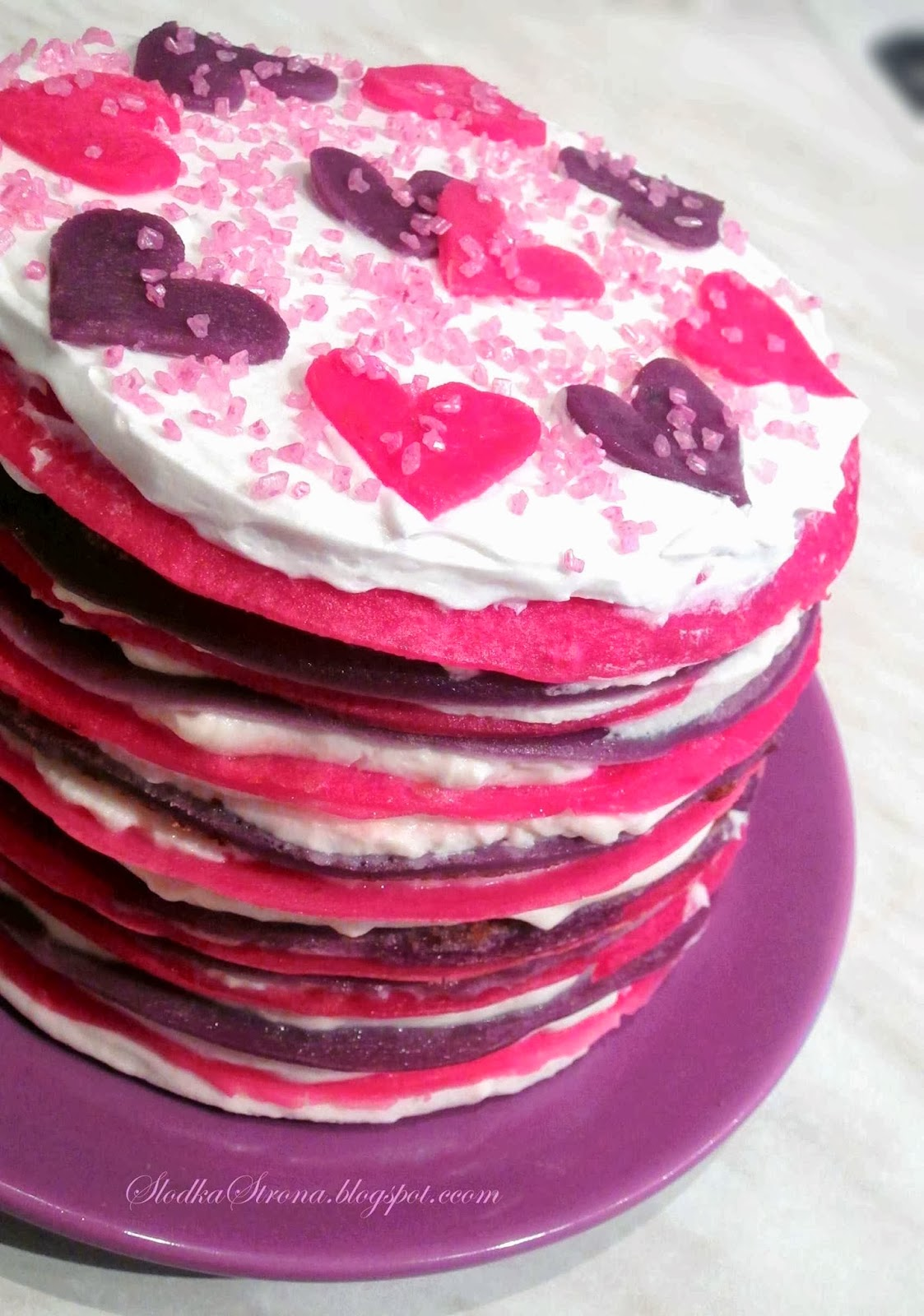 Tort Naleśnikowy na Walentynki - Przepis - Słodka Strona