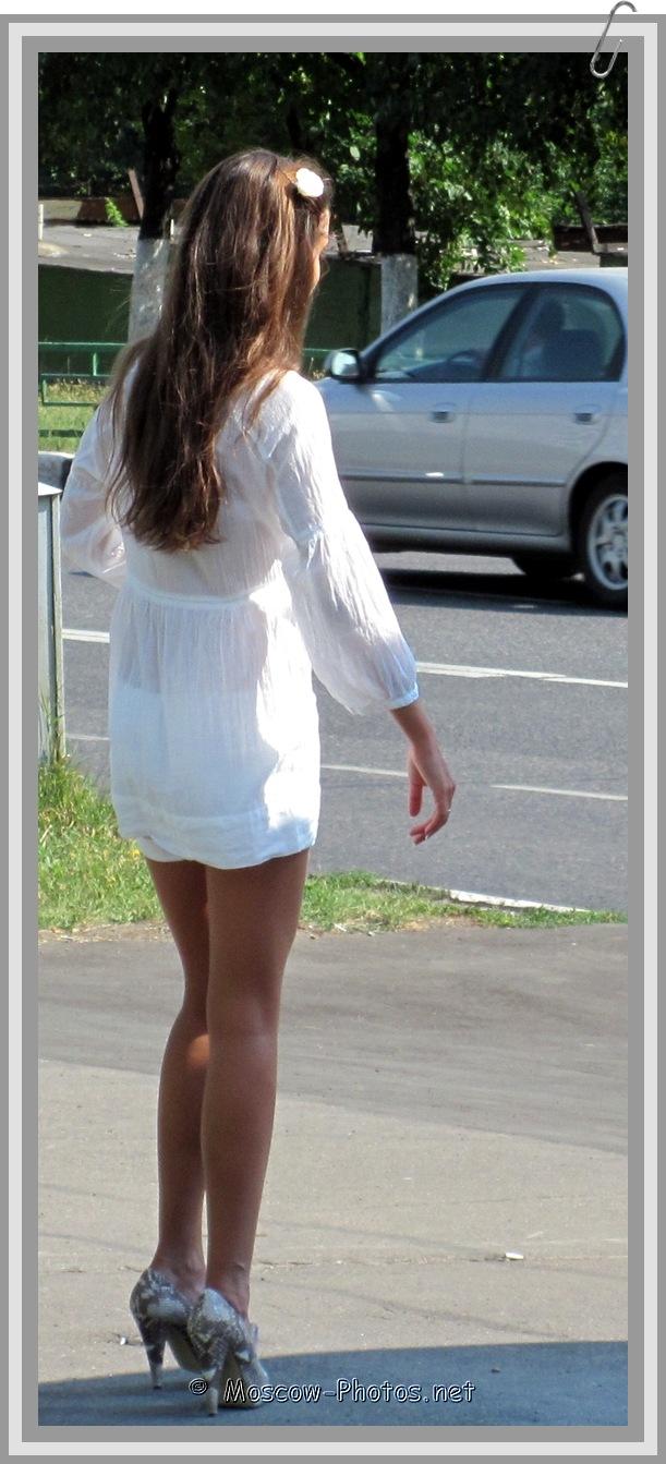Girl In White Summer Mini Dress