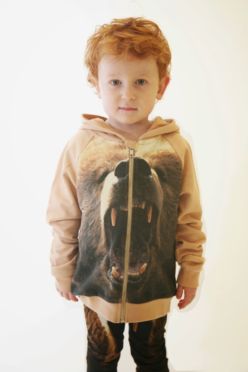 Organic sweatshirt with growling bear print by Popupshop for autumn/winter kids fashion collection 2014