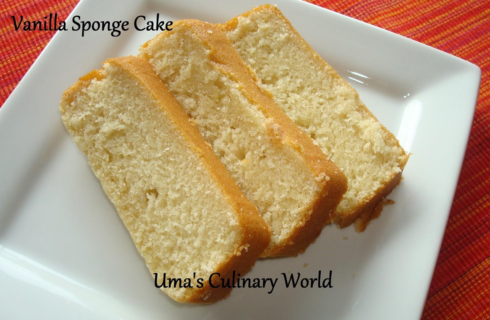Cake At Home Eggless : Uma s Culinary World: Eggless Sour Cream Vanilla Sponge Cake