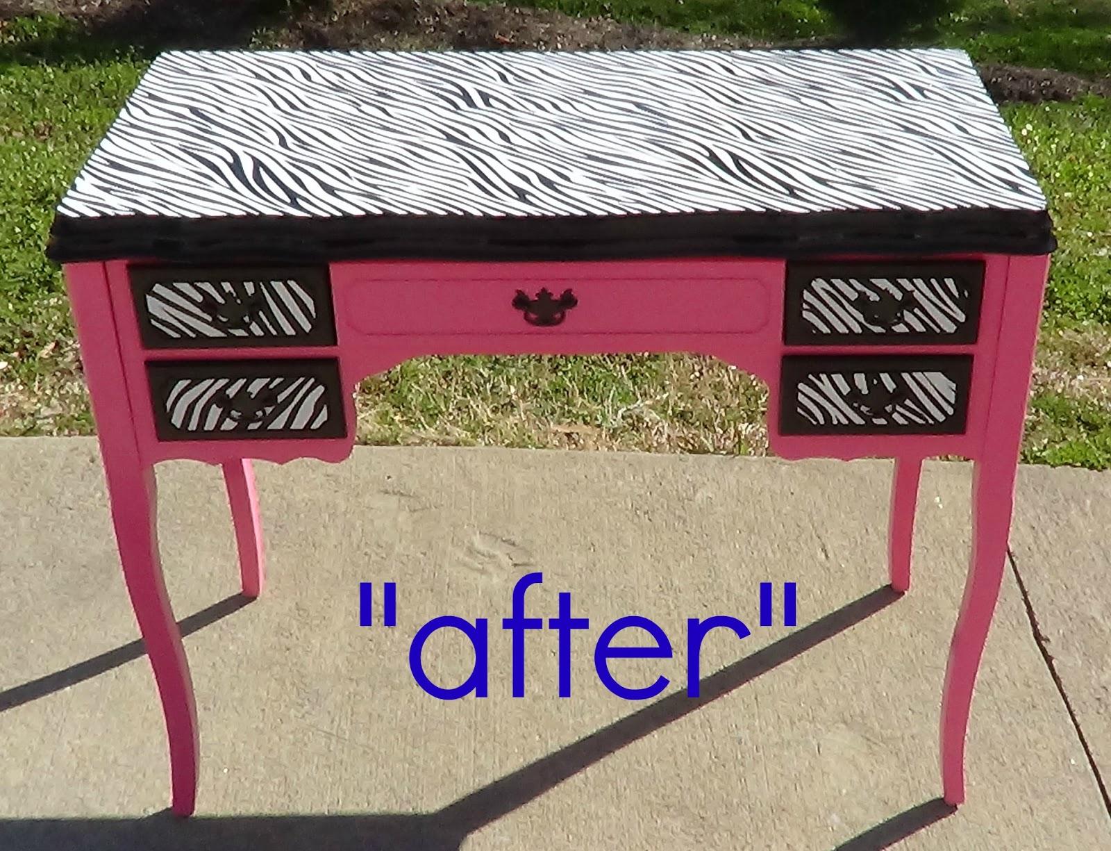 That s not junk refurbished recycled furniture hot pink zebra desk