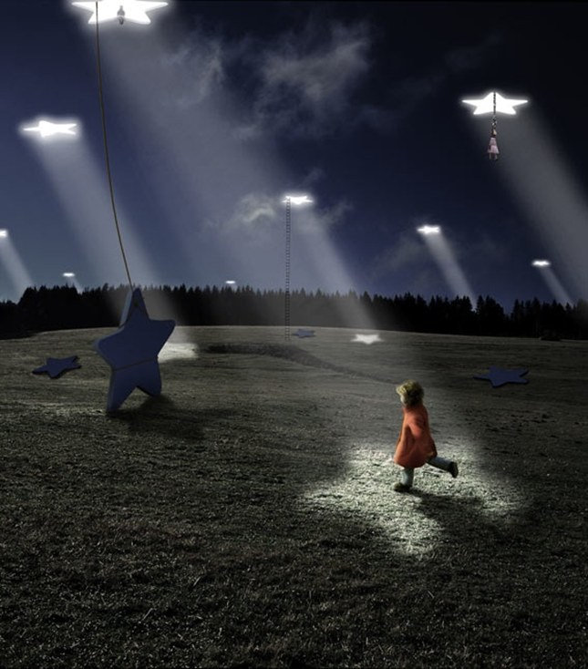 "The work of Alastair Magnaldo. His photos are for the ones who see stories all around them, the ones who dream of ""lying on fluffy clouds or frolicking among the stars,"" and the ones who won't let their imaginations flicker out like a dying flame. They show us the power of dreams and imagination at play. More than anything, however, Magnaldo captures the magic of childhood and all of the sweet emotions that come with it."