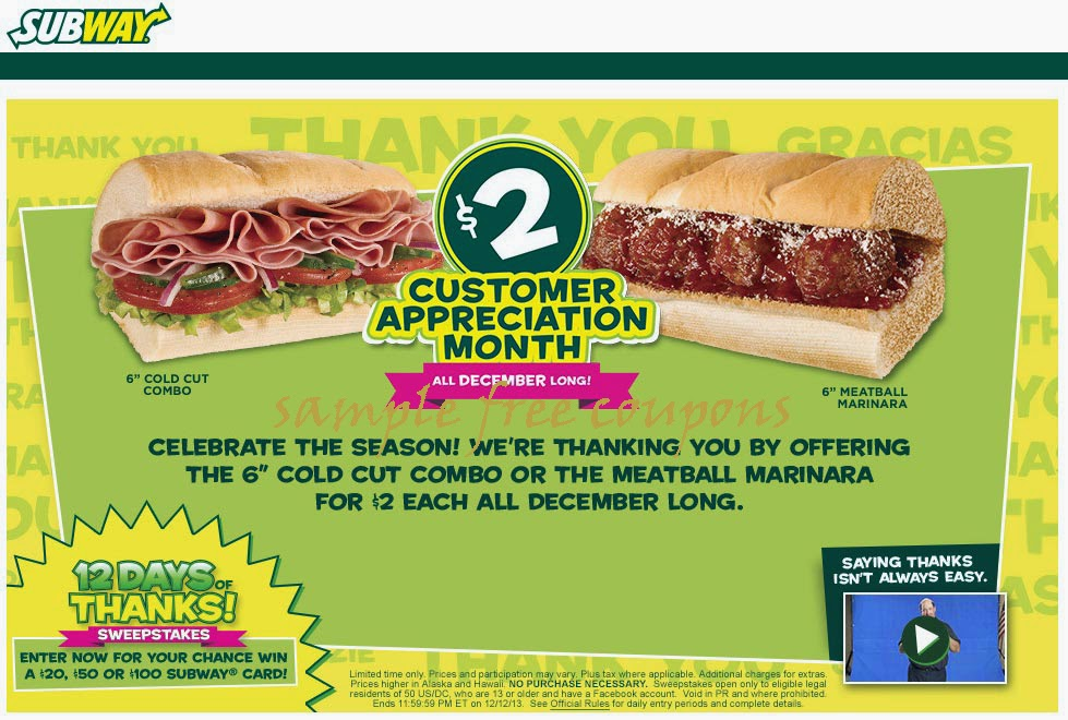Subway discount coupons