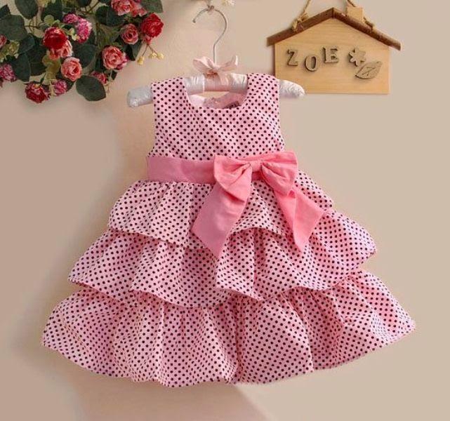 Dress anak perempuan motif pulkadot warna pink branded
