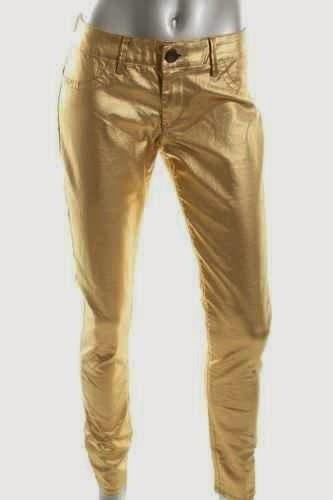 Victoria's Secret GOLD foiled jeans... yes, please.