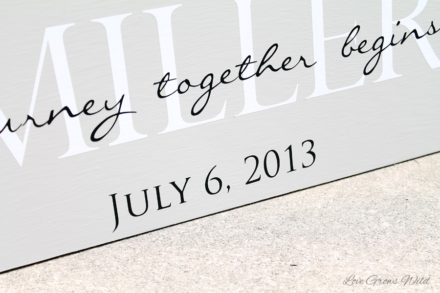 How To Create A DIY Family Sign With Your Wedding Date