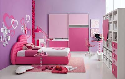 Desain Kamar tidur anak perempuan remaja pink