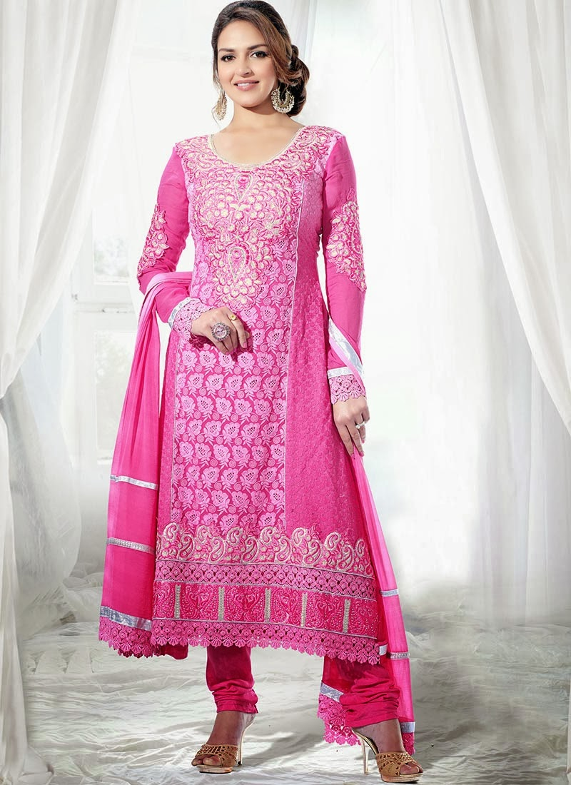 Gorgeous Esha Deol Embroidered Long Churidar Suit