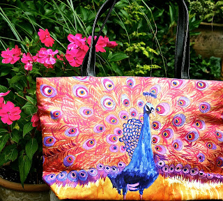pink handbags with peacocks