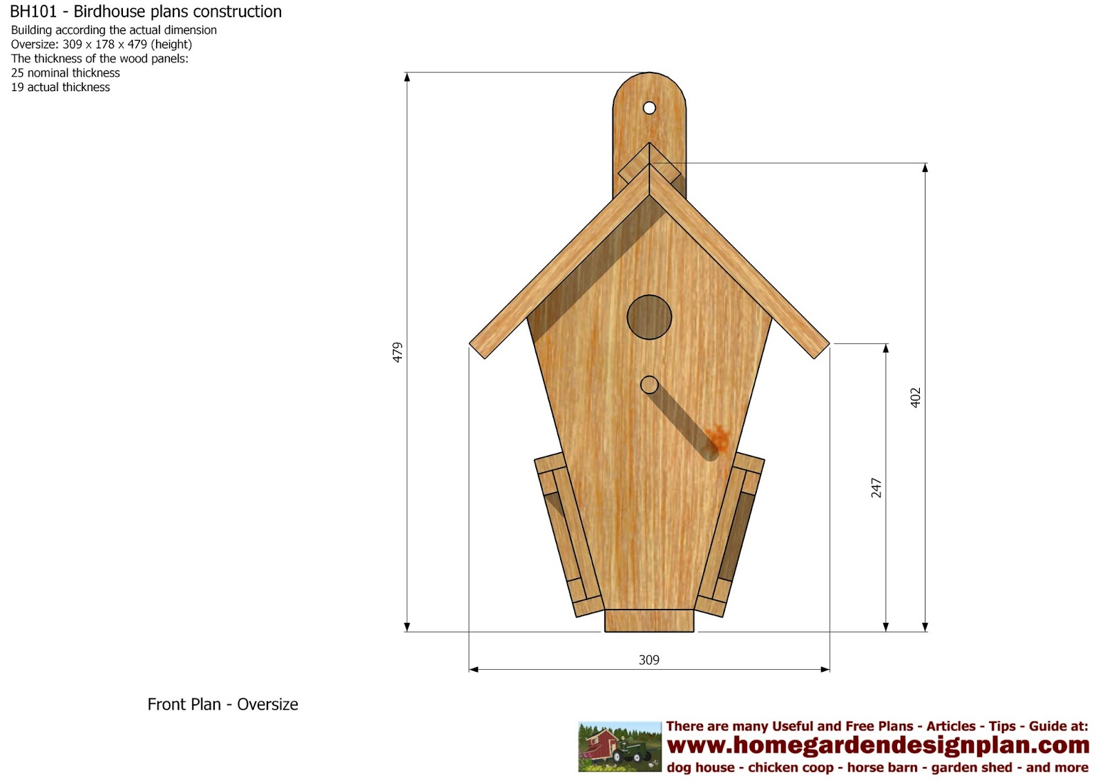 home garden plans: BH101 - Bird House Plans Construction - Bird ...