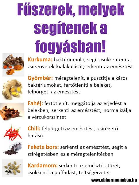 fogyásban jótákony fűszerek, diéta, zsírégetés, fogyókúra, fogyás