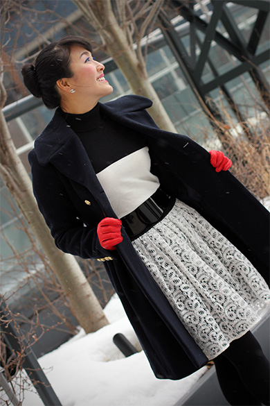 Forever 21 High neck black & white sweater, Anthropologie Ninette skirt with FCUK black & white belt