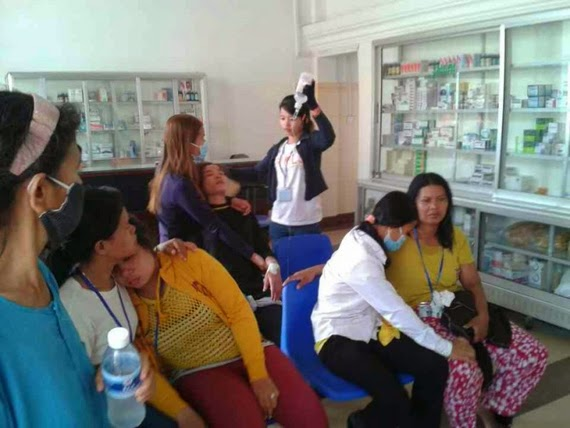 Workers were sent to a clinic after fainting in a garment factory. Photo from Facebook page of Community Legal  Education Center