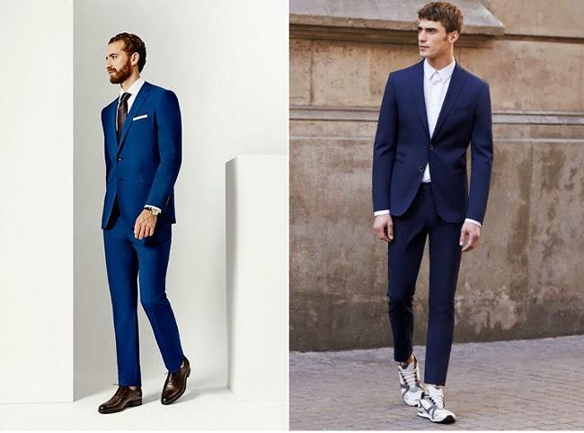 El color de estos estilos debe ser clásico, como por ejemplo un traje azul de hombre, gris y negro. Los trajes más utilizados este año son los de rayas, es el estilo .